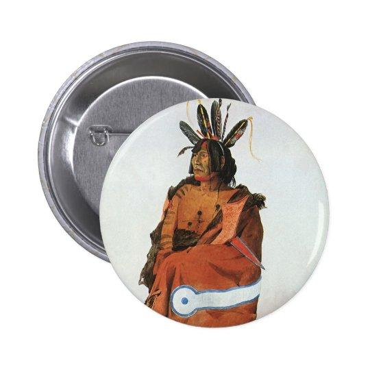 Pachtuwa-Chta, Arikara Warrior Portrait by Bodmer Pinback Button