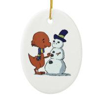Pachycephalosaurus & Snowman Ornament