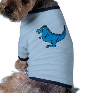 Pachycephalosurus azul camiseta con mangas para perro