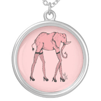 Pachyderm rosado en colgante del collar de las med