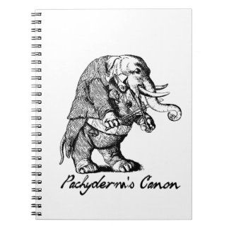 Pachyderm's Canon Violin playing Elephant Fiddle Spiral Notebook