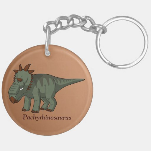 Pachyrhinosaurus Llavero Redondo Acrílico A Doble Cara