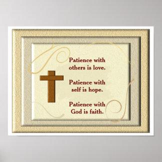 Paciencia con dios - impresión del arte póster