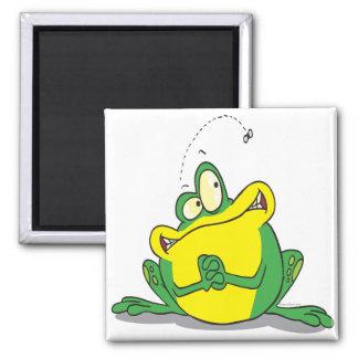 paciencia linda tonta del froggy para la mosca imán cuadrado