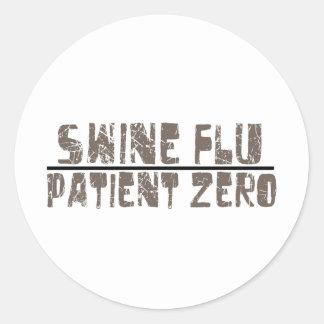 paciente cero de la gripe de los cerdos pegatina redonda