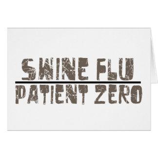 paciente cero de la gripe de los cerdos tarjeta de felicitación