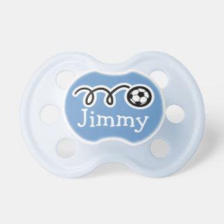 Pacifer del fútbol con el binkie del nombre/del ma chupetes para bebes