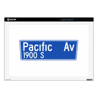 """Pacific Avenue, Los Angeles, CA Street Sign 17"""" Laptop Skins"""