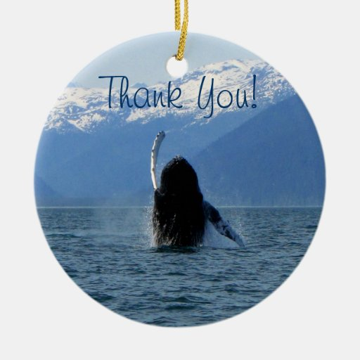 Pacific Ballet; Thank You Double-Sided Ceramic Round Christmas Ornament