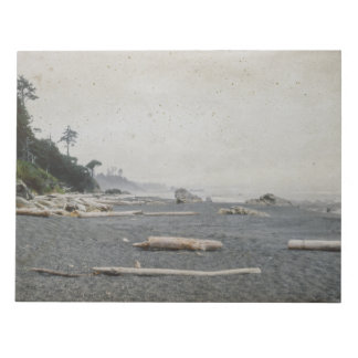 Pacific Beach Sandy Driftwood Shore Scene Notepad