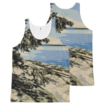 Pacific Beach woodblock style All-Over-Print Tank Top