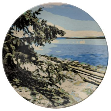 Pacific Beach woodblock style Dinner Plate