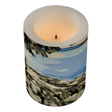 Pacific Beach woodblock style Flameless Candle