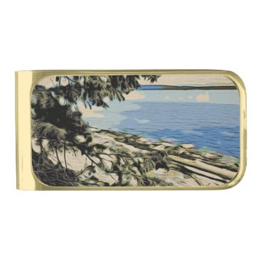 Beach Themed Pacific Beach woodblock style Gold Finish Money Clip