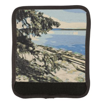 Beach Themed Pacific Beach woodblock style Luggage Handle Wrap