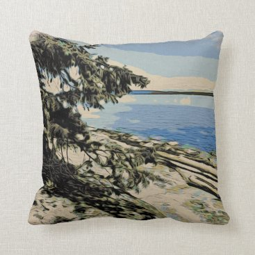 Pacific Beach woodblock style Throw Pillow