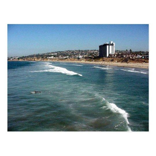 Pacific Beaches Waves Surfers Sand San Diego Ocean Postcard