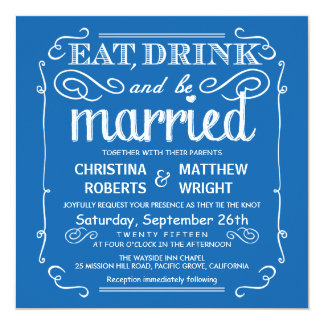 Pacific Blue Eat Drink be Married Wedding Invites