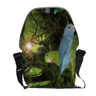 Pacific Blue Green Parrotlet Jungle Messenger Bag