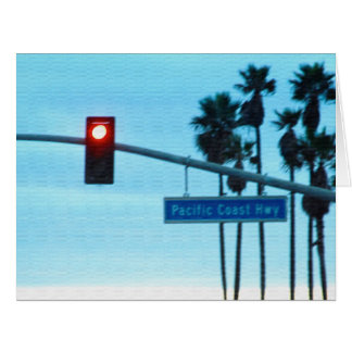 Pacific Coast Highway 1 Sign California Beach Sky Card