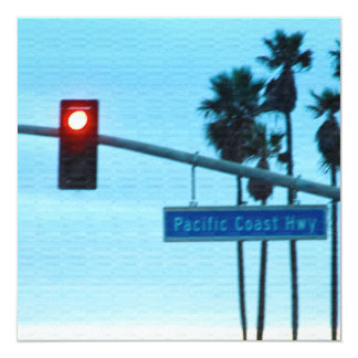 "Pacific Coast Highway 1 Sign California Beach Sky 5.25"" Square Invitation Card"