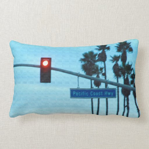 Pacific Coast Highway 1 Sign California Beach Sky Throw Pillows