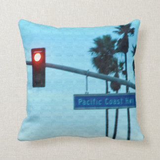 Pacific Coast Highway 1 Sign California Beach Sky Throw Pillow