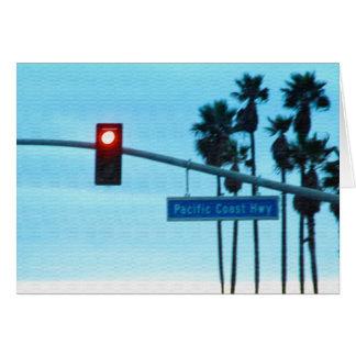 Pacific Coast Highway Sign California Beach Sky Card
