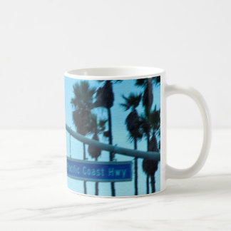 Pacific Coast Highway Sign California Beach Sky Coffee Mug