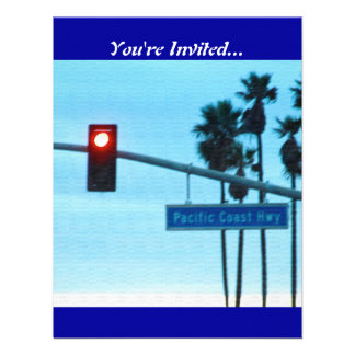 Pacific Coast Highway Sign California Beach Sky Personalized Invite