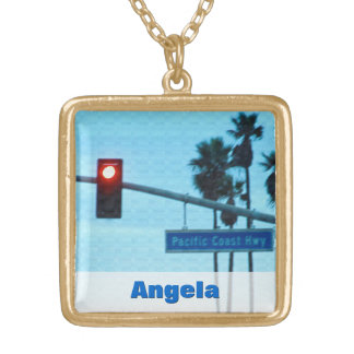 Pacific Coast Highway Sign California Beach Sky Square Pendant Necklace