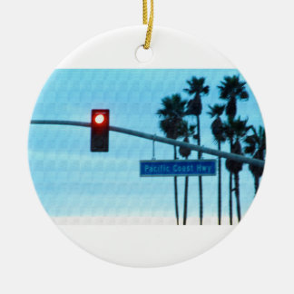 Pacific Coast Highway Sign California Beach Sky Ornament