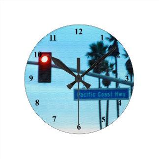 Pacific Coast Hwy Sign | Huntington Beach Calif Round Clock
