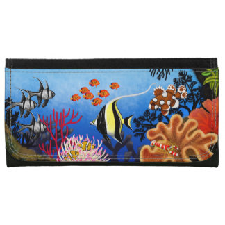 Pacific Coral Reef Fish Leather Wallet