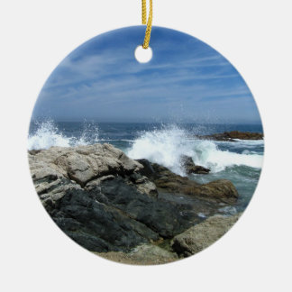 Pacific Crashing In Double-Sided Ceramic Round Christmas Ornament