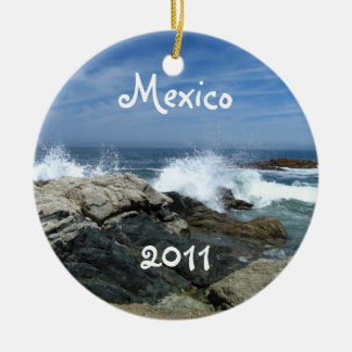 Pacific Crashing In; Mexico Souvenir Double-Sided Ceramic Round Christmas Ornament