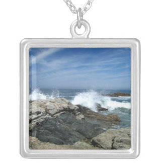 Pacific Crashing In Square Pendant Necklace