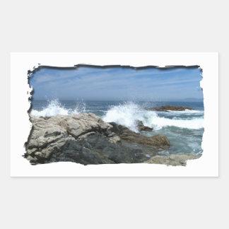 Pacific Crashing In Rectangular Sticker