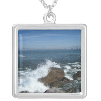 Pacific Froth Square Pendant Necklace