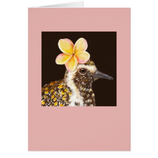 pacific golden plover with plumeria card