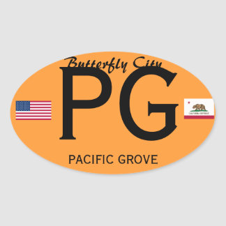 Pacific Grove European-style Oval Sticker