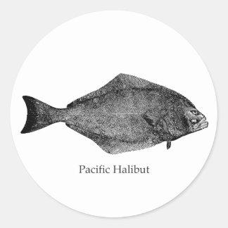 Pacific Halibut Logo Round Sticker