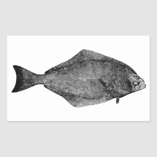 Pacific Halibut Logo Rectangle Stickers