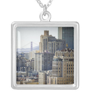 Pacific Heights and Golden Gate Bridge Square Pendant Necklace