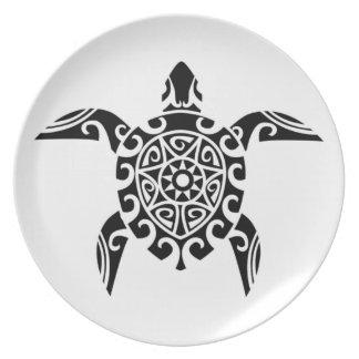 Pacific Island design tattoo style Turtle Plate