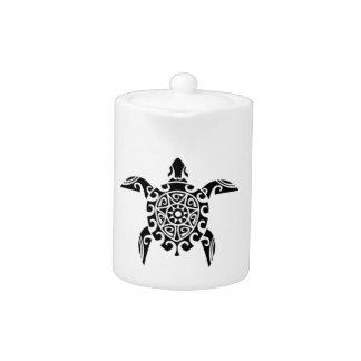 Pacific Island design tattoo style Turtle Teapot