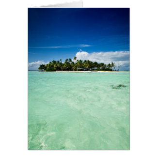 Pacific island with palm trees greeting card