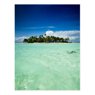 Pacific island with palm trees portrait postcard