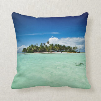Pacific island with palm trees throw pillow
