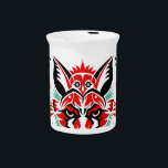 "Pacific North Coastal Native American Indian Fox Drink Pitcher<br><div class=""desc"">This illustrated product features a fox graphic inspired by Coastal Native American art of the Pacific Northwest.  This original fox illustration includes many hidden animals and would make a great gift.</div>"